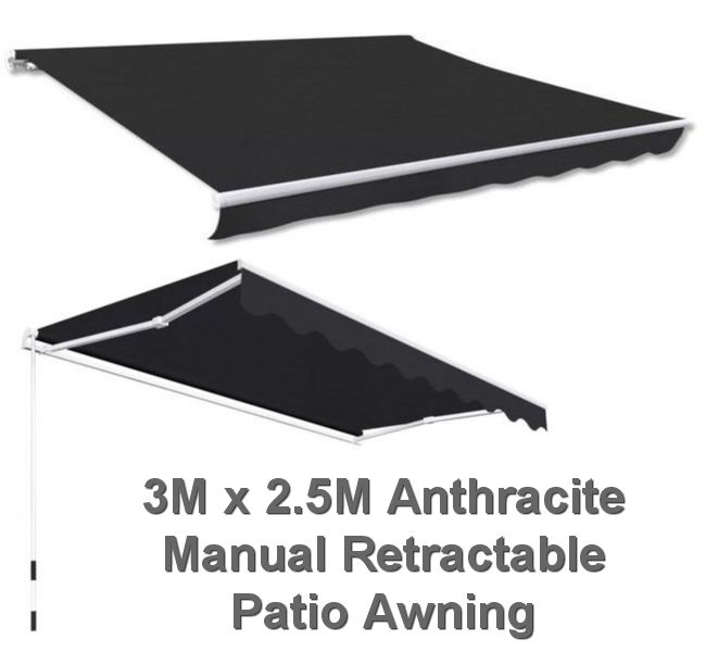 3M x 2.5M Anthracite Retractable Patio Awning